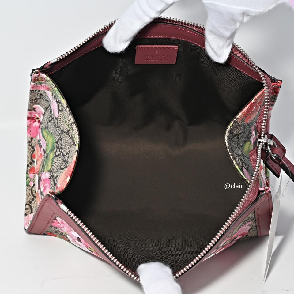 d8dad3e66fb Gucci Antique Rose Gg Supreme Canvas Blooms Clutch Pouch Cosmetic ...