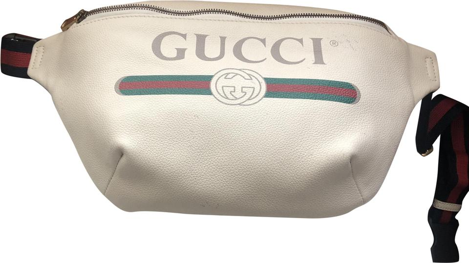 9a816fd346fd Gucci Print Belt White Leather Messenger Bag - Tradesy