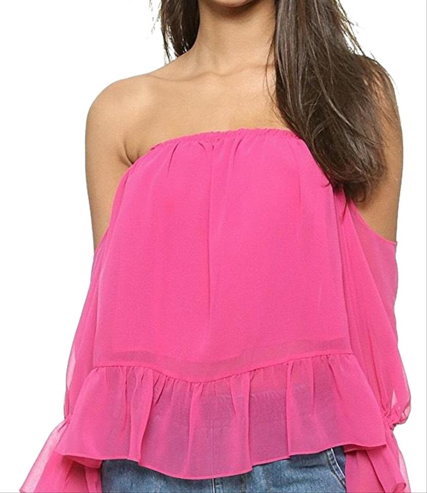 27e3a46a949d2d T-Bags Los Angeles Pink Misa Off The Shoulder Ruffle Blouse Size 2 ...