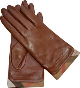 Burberry NWT BURBERRY LEATHER HOUSECHECK TRIM JANNY TOUCH GLOVES SZ 7.5