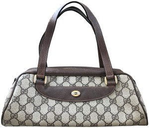 226e7dfb85c710 Gucci Accessory Collection Made In Italy Monogram Leather Satchel in Brown