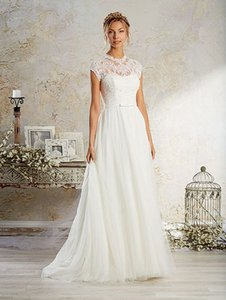Alfred Angelo White 8570 Casual Wedding Dress Size 12 (L)