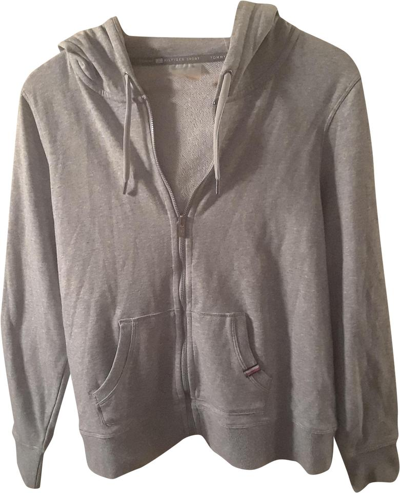 895a1453 Tommy Hilfiger Grey/White Activewear Outerwear Size 12 (L) - Tradesy