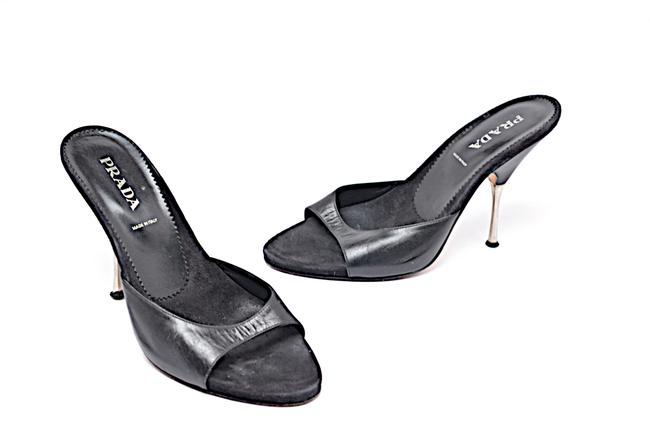 "Item - Black Leather Stainless Steel Stiletto 4.5"" Heel Mules/Slides Size EU 38.5 (Approx. US 8.5) Regular (M, B)"