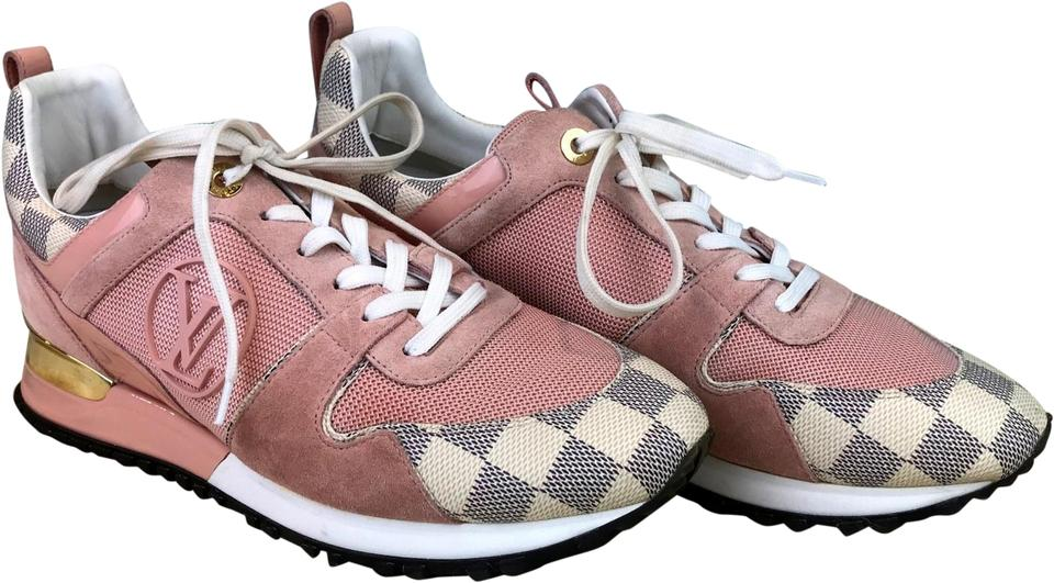f6382694dd4a Louis Vuitton Pink Damier Azur Run Away Trim Trainers Sneakers Sale Sneakers