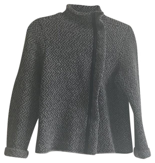 Item - Black and Gray Twill with Lambs Leather Trim Along Zipper Jacket Size Petite 8 (M)