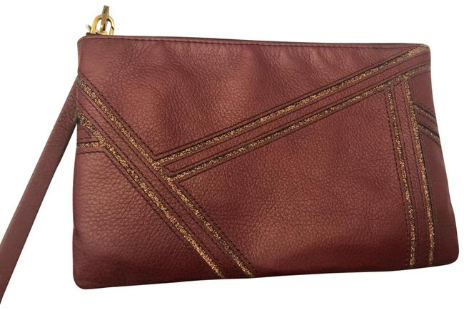 Item - Maroon and Gold Leather Wristlet