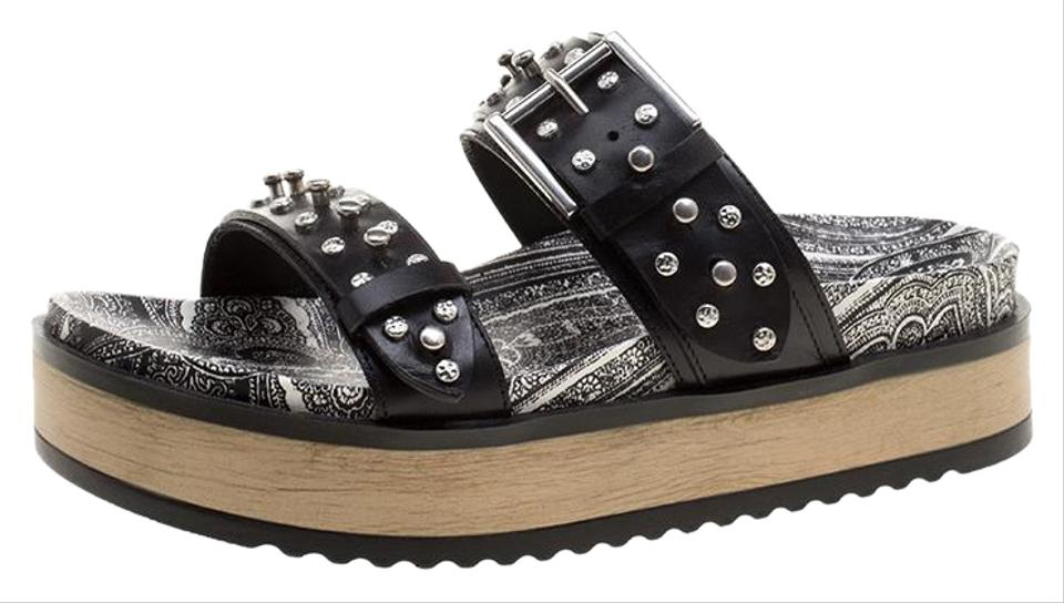 e0918245782 Alexander McQueen Black Studded Leather Paisley Platform Slides Flats
