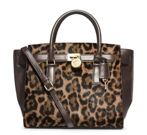25f50d4fdc88 Michael Kors Calfskin Hamilton Traveler Satchel in Leopard Cheetah Dark  Brown. Michael Kors Hamilton Traveler Large Calfhair Crossbody ...