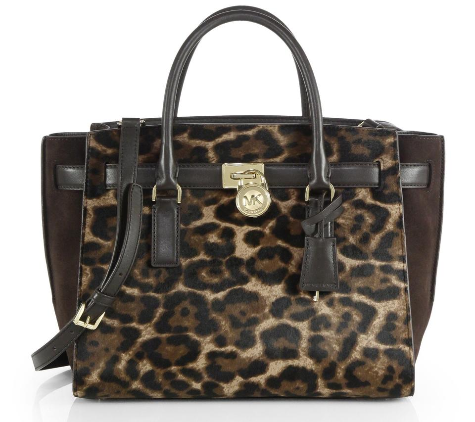 a582230f4958 Michael Kors Calfskin Hamilton Traveler Satchel in Leopard Cheetah Dark  Brown Image 7. 12345678