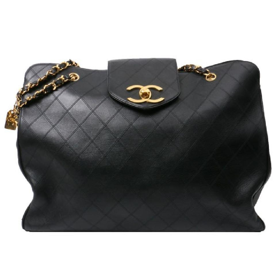3671c62165ef43 Chanel Vintage Quilted Super Model Shopper Black Lambskin Leather ...