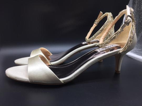 Badgley Mischka Ivory Yareli Crystal Ankle Strap Kitten Heel Sandals Size US 9 Regular (M, B)