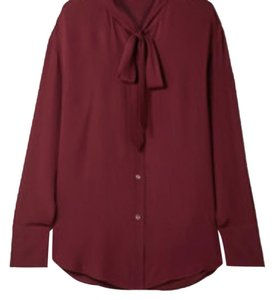 Theory Silk Pussy Bow Top Burgundy
