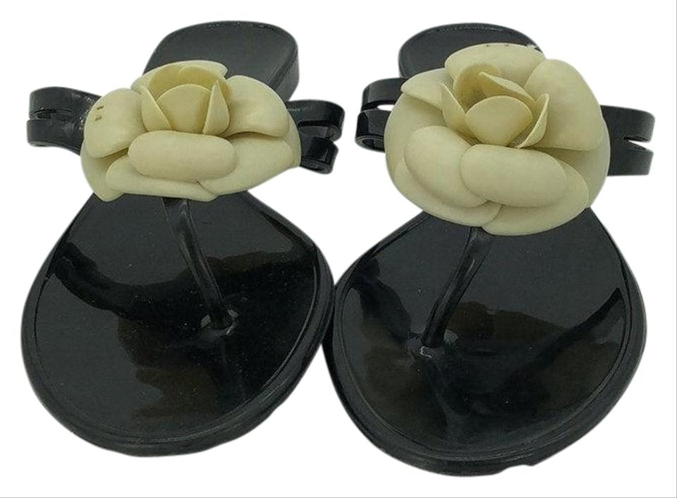 80e08e53b95322 Chanel Black and Ivory Floral Applique Jelly Flip Flops Sandals Size ...