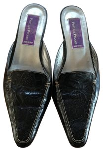 Phyllis Poland Black Embossed Leather with White Stitch Trim Mules