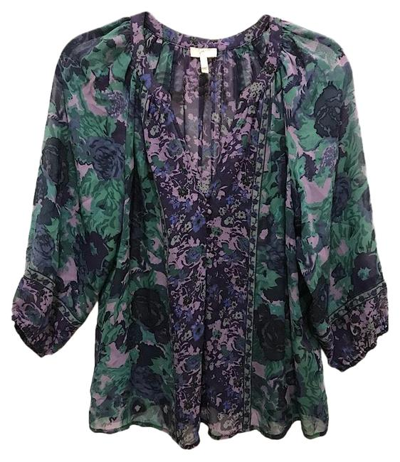 Preload https://img-static.tradesy.com/item/24918755/joie-purple-and-green-silk-blouse-size-6-s-0-1-650-650.jpg
