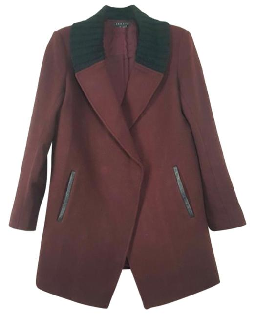 Preload https://img-static.tradesy.com/item/24918783/theory-burgundy-wool-blend-wblack-knit-collar-coat-size-8-m-0-1-650-650.jpg
