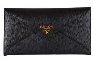 76722cfd74a7 Prada New Prada Black Vitello Saffiano Leather Flap Envelope Wallet Clutch