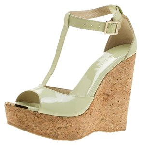 dfd7f4ee548a Jimmy Choo Patent Leather Strappy Green Wedges