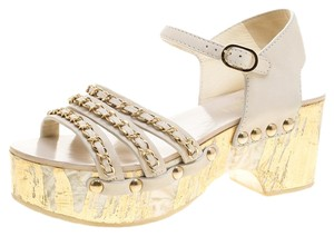 c057f0284ad373 Chanel Chain Ankle Strap Detail Leather Platform White Sandals