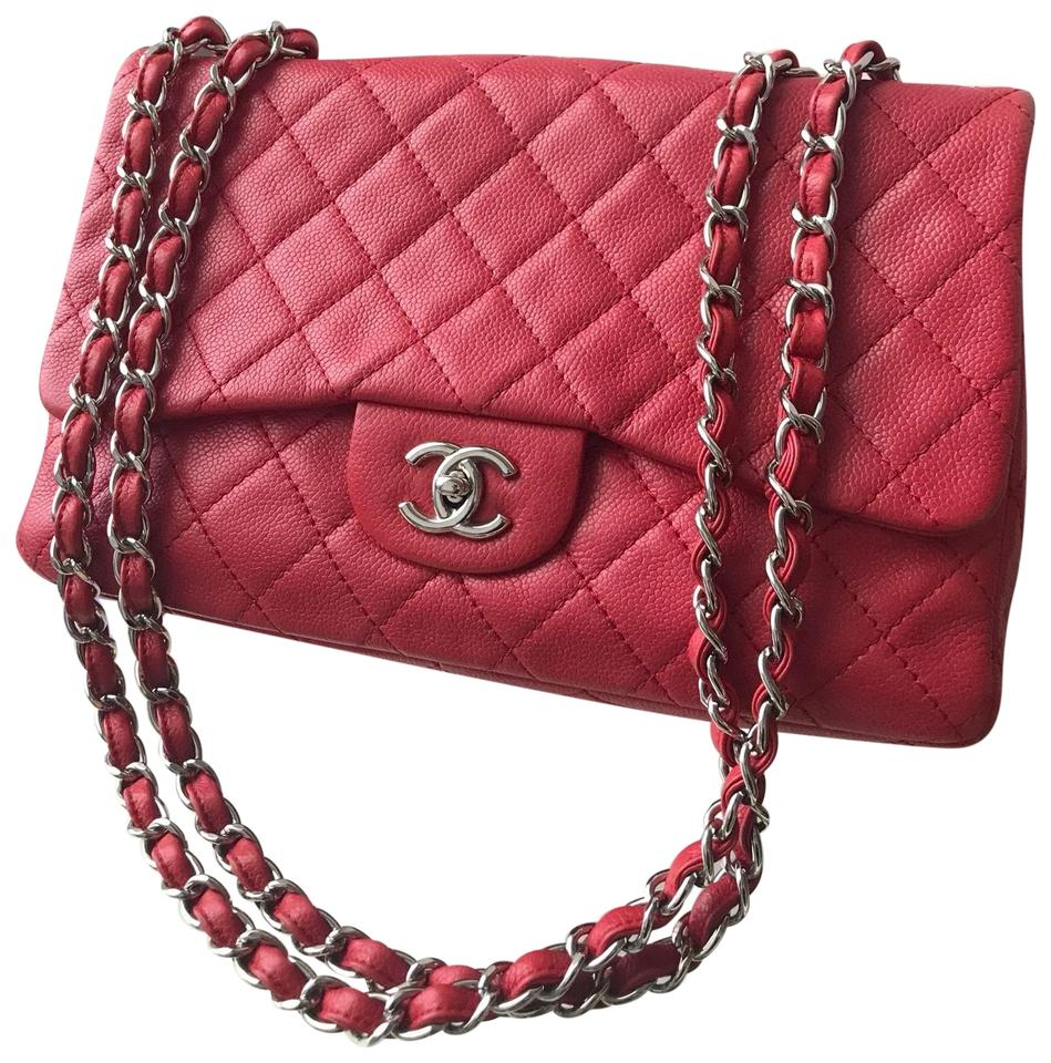 cc58e77474b Chanel Classic Flap Soft Caviar Jumbo Red Shoulder Bag - Tradesy