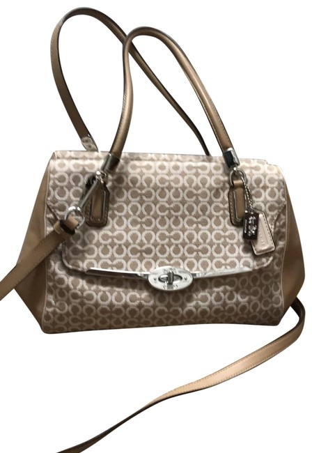 Item - Crossbody Or Tan and Ivory Canvas Satchel