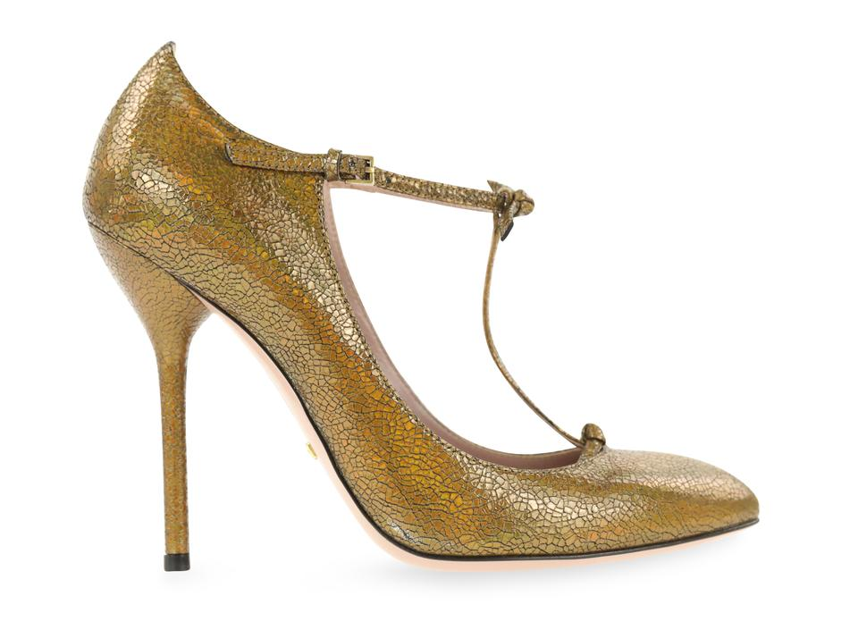 78c000240 Gucci Brown Beverly Bronze T Strap Cracked Metallic Leather Pumps. Size: EU  37.5 (Approx. US 7.5) Regular ...
