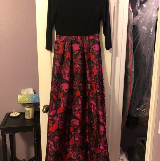 Adrianna Papell Black/Floral Gown Formal Bridesmaid/Mob Dress Size 6 (S) Image 1