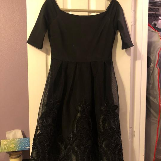 GB Black See Attached Picture Of Tag Off-the-shoulder Embroidered Formal Bridesmaid/Mob Dress Size 4 (S) Image 1