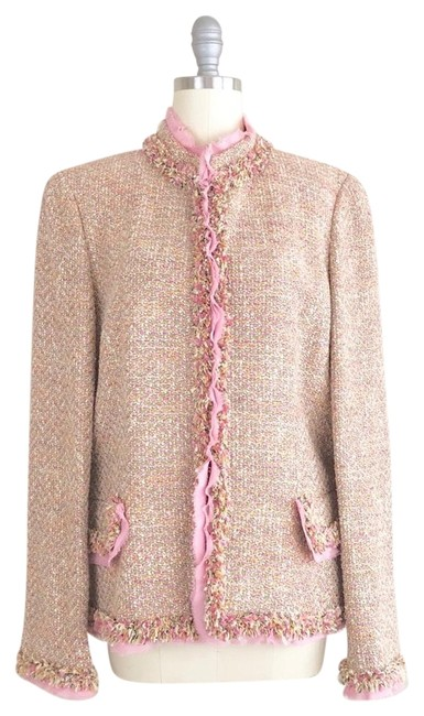 Preload https://img-static.tradesy.com/item/24919000/dana-buchman-white-pink-raw-edge-boucle-tweed-blazer-size-10-m-0-1-650-650.jpg