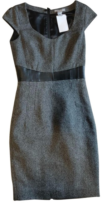 Item - Gray and Black Fitted Cap Sleeve Work/Office Dress Size 2 (XS)