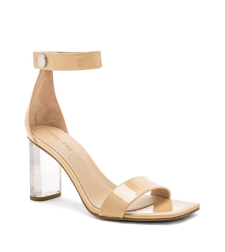 16b9899383f Kendall + Kylie Beige Lexx Nude Patent Leather Clear Heel Sandals Size US 9  Regular (M, B)