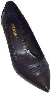 Prada Pointed Toe Made In Italy Office Wear All Leather Black Pumps