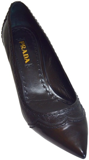 Prada Pointed Toe Made In Italy Office Wear All Leather Black Pumps Image 0