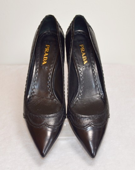 Prada Pointed Toe Made In Italy Office Wear All Leather Black Pumps Image 3