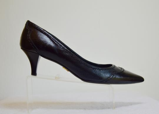 Prada Pointed Toe Made In Italy Office Wear All Leather Black Pumps Image 4
