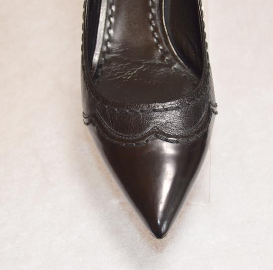 Prada Pointed Toe Made In Italy Office Wear All Leather Black Pumps Image 5