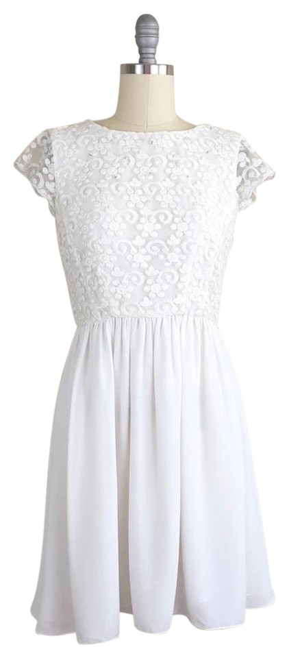 b2fa5ea9efe French Connection White Maui Lace Fit and Flare Short Cocktail Dress ...