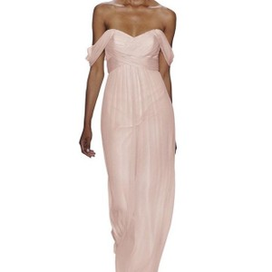 Amsale Blush Chiffon Crinkle Gown Formal Bridesmaid/Mob Dress Size 2 (XS)