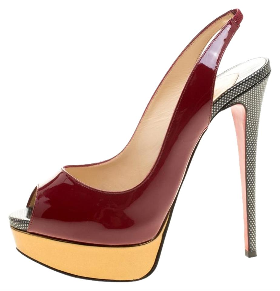 73fed7d68b6 Christian Louboutin Burgundy Two Tone Patent Leather Lady Peep Toe  Slingback Sandals Platforms