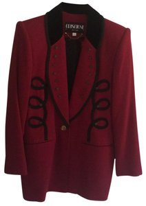 Criscione Elegant Jacket maroon or burgundy color with a velvet black collar and trim Blazer