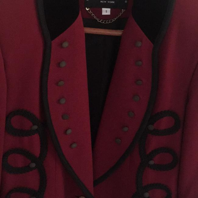 Criscione Elegant Jacket maroon or burgundy color with a velvet black collar and trim Blazer Image 3