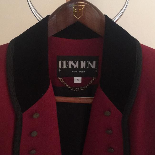 Criscione Elegant Jacket maroon or burgundy color with a velvet black collar and trim Blazer Image 4