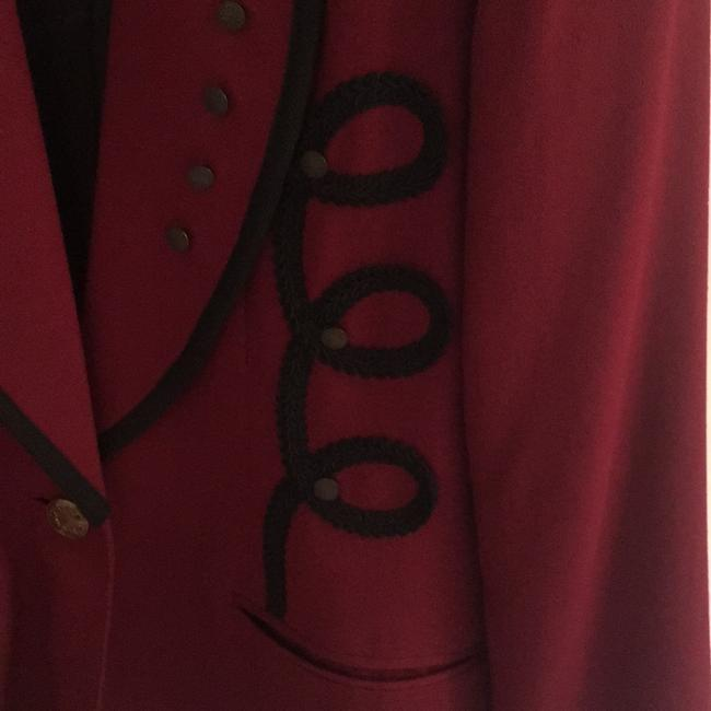 Criscione Elegant Jacket maroon or burgundy color with a velvet black collar and trim Blazer Image 5