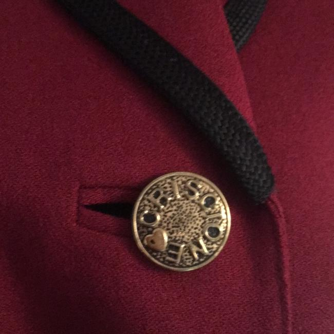 Criscione Elegant Jacket maroon or burgundy color with a velvet black collar and trim Blazer Image 6