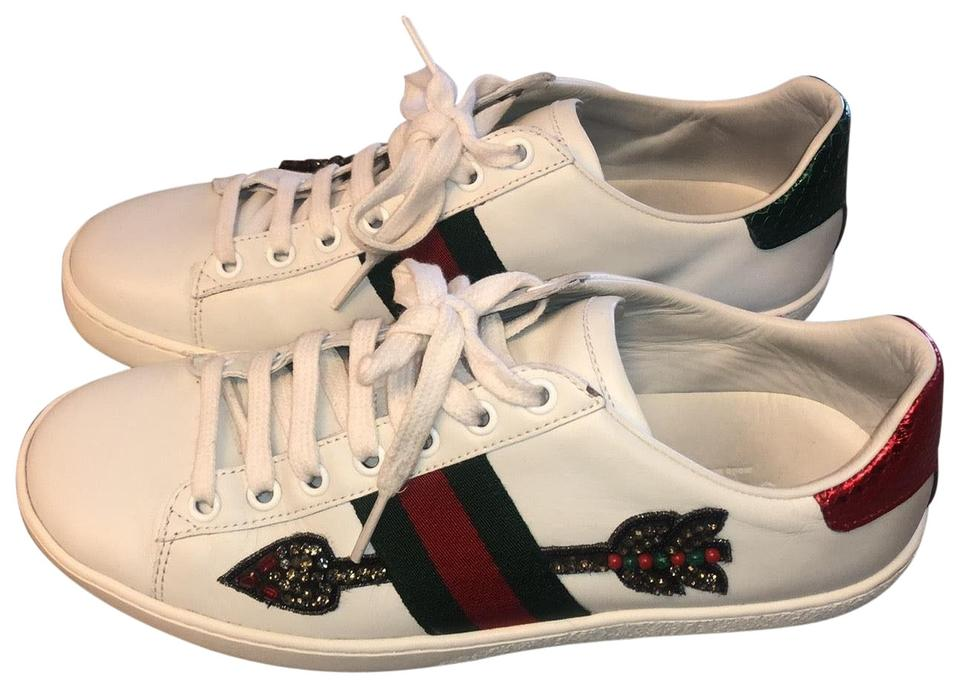 7e332e66f52 Gucci White Red Green Ace Arrow Embroidered Leather Sneaker In Sneakers
