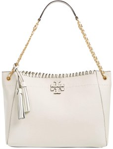 Tory Burch Mcgraw Whipstitch New Ivory Shoulder Bag