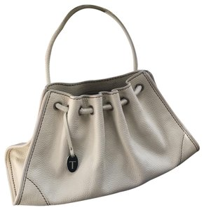 Tod's Drained Leather White Ivory Drawstring Bag Tote in White