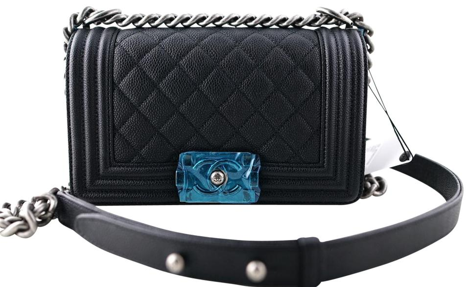 56f6eac8 Chanel Boy Le Ruthenium Hardware Small Size Black Caviar Leather Shoulder  Bag