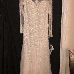 Adrianna Papell Ivory Beaded New with Tags Modern Wedding Dress Size 14 (L)